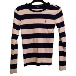 RALPH LAUREN SPORT Navy/White Striped Long Sleeve